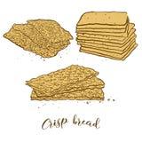 Barwioni nakreślenia Chrupiący chlebowy chleb ilustracji