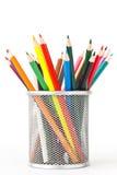 Barwioni ołówki w właścicielu zdjęcia stock