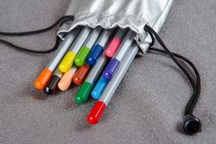Barwioni ołówki w srebnej skrzynce Obrazy Stock