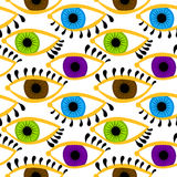 Barwioni oczy z rzęsy Bezszwowym tłem Obraz Stock