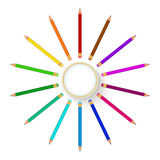 Barwioni pensils wokoło sztandaru Fotografia Royalty Free