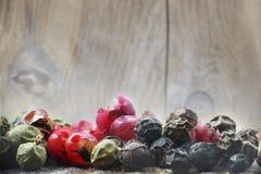 Barwioni pieprze zamykają up przed starym drewnem, makro- zdjęcia royalty free