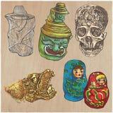 Barwioni przedmioty - ręka rysujący wektoru set Zdjęcie Royalty Free