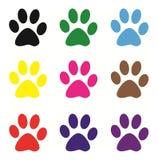 Barwioni psi odciski stopy ilustracja wektor