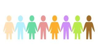 Barwioni sylwetka papieru ludzie jako społeczność na bielu, akcyjny vec royalty ilustracja