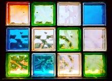 Barwioni szklani bloki w okno Obraz Stock