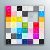 barwioni tło kwadraty Wektorowy szablon dla interfejsu Obrazy Royalty Free