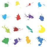 Barwioni wektorów kleksy Seth kleksy na białym tle elementy projektu podobieństwo ilustracyjny wektora Obrazy Royalty Free