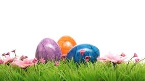 Barwioni Wielkanocni jajka na trawie Obrazy Royalty Free