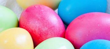 Barwioni Wielkanocni jajka w jajecznym kartonu właścicielu Obrazy Stock
