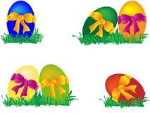 Barwioni Wielkanocni jajka z łękami Fotografia Royalty Free