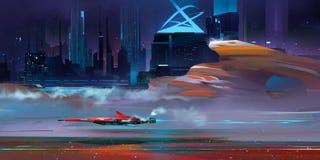 Barwiony śródnocny fantastyczny miastowy cyberpunk krajobraz z górami ilustracji