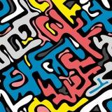 Barwiony abstrakcjonistyczny bezszwowy wzór w graffiti stylu ilości wektorowa ilustracja dla twój projekta ilustracji