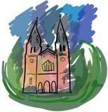 Barwiony Bacilica De Santa Mącący a w Covadonga, Hiszpania ilustracji