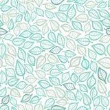 Barwiony bezszwowy wzór z liściem w błękicie ilustracja wektor