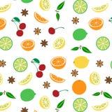 Barwiony bezszwowy wzór z owoc, wektor royalty ilustracja