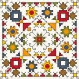 Barwiony bezszwowy wzór z tradycyjnymi motywami royalty ilustracja