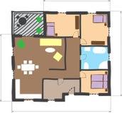 barwiony doodle podłoga domu planu styl Zdjęcie Stock