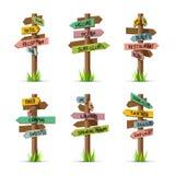 Barwiony drewniany strzałkowaty signboards kurortu wektoru set royalty ilustracja