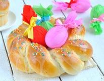 barwiony Easter jajek wianek Obraz Stock