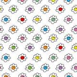 Barwiony elegancki bezszwowy wektorowy tło z rumiankiem kwitnie, mali śliczni kwiaty royalty ilustracja