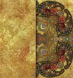 Barwiony etniczny geometryczny deseniowy granulacyjny złoty tło Zdjęcia Stock