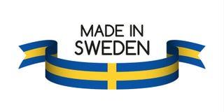 Barwiony faborek z szwedów kolorami, Robić w Szwecja ilustracja wektor