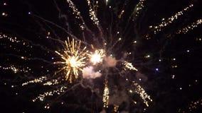 Barwiony fajerwerku tło, piękny salut przy nocy niebem, zwolnione tempo zbiory wideo