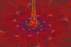 Barwiony fractal kwiat z żółtym centre Fotografia Stock