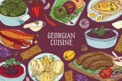 Barwiony horyzontalny tło z wyśmienicie tradycyjnymi posiłkami Gruzińska kuchnia i miejsce dla teksta ręka patroszona ilustracji