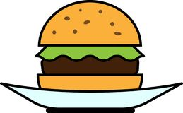 Barwiony ikona frontowego widoku hamburger z sałatą i cutlet na talerzu royalty ilustracja