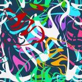 Barwiony jaskrawy bezszwowy wz?r w graffiti projektuje na czarnym tle ilustracji
