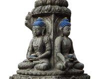 Barwiony kamienny Buddha odizolowywał Zdjęcia Stock