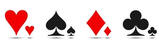 Barwiony karciany kostium ikony wektor, karta do gry symbole royalty ilustracja