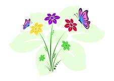 Barwiony kwiecisty tło z kwiatami i motylami Zdjęcie Stock