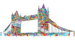 Barwiony Londyn wierza mosta symbol ilustracji