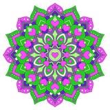 Barwiony mandala z sercami Round symetryczni ornamenty royalty ilustracja