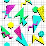 BARWIONY MEMPHIS STYLOWY BEZSZWOWY wzór GEOMETRYCZNA element tekstura 80S-90S projekt NA BIAŁYM tle ilustracja wektor