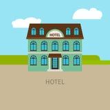 Barwiony miastowy hotelowy budynek ilustracji