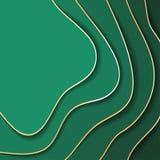 Barwiony papier macha, abstrakt, geometryczne tło tekstury warstwy głębia w cieniach denna zieleń papieru cięcia styl ilustracji