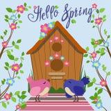 Barwiony ptasi pobliski birdhouse w mieszkanie stylu również zwrócić corel ilustracji wektora ilustracja wektor