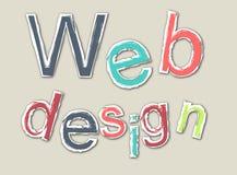 Barwiony retro webdesign słowo z konturem Fotografia Royalty Free