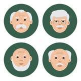Barwiony set twarz starzy człowiecy na zielonym tle, płaskie ikony, wektor ilustracji