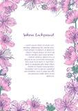 Barwiony tło z kwiecistą ramą składać się z piękni różowi kwitnienie kwiaty i pączki japończyk Sakura wręczają patroszonego ilustracja wektor