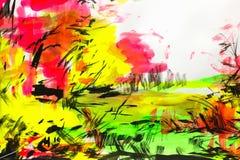 Barwiony tło z stubarwnymi farbami, barwiony szczotkarski strok ilustracja wektor