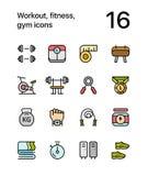 Barwiony trening, sprawność fizyczna, gym ikony dla sieci i mobilna projekt paczka 1, ilustracji