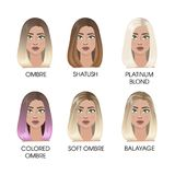 Barwiony włosy set ilustracji
