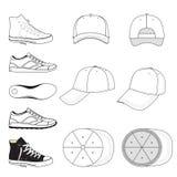 Barwiony zarysowany sneakers & baseball nakrętki set royalty ilustracja