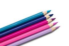 barwionych palety ołówków purpurowy ustalony fiołek Zdjęcie Stock