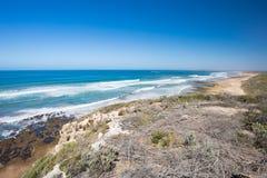 Barwon Heads Park. The view towards Thirteenth Beach from Barwon Heads Park on a hot summer`s day in Barwon Heads, Victoria, Australia stock photos